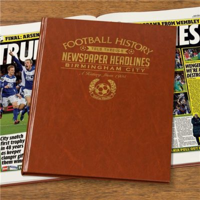 birmingham football newspaper book brown leatherette colour pages