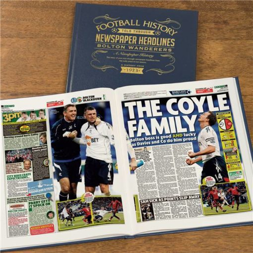 bolton football newspaper book blue leather cover