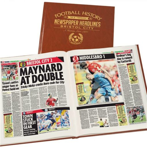 bristol city football newspaper book brown leatherette colour pages