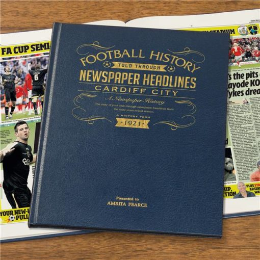 cardiff city football newspaper book blue leather cover