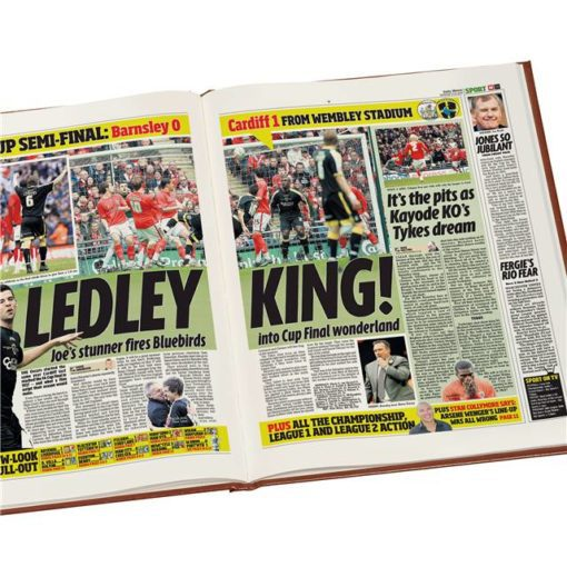 cardiff city football newspaper book brown leatherette colour pages