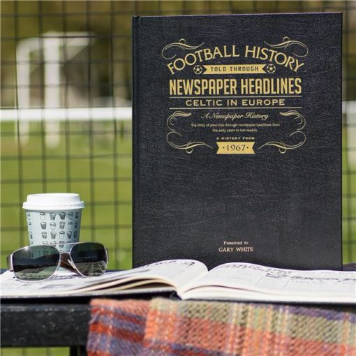 celtic europe football newspaper book black leather cover