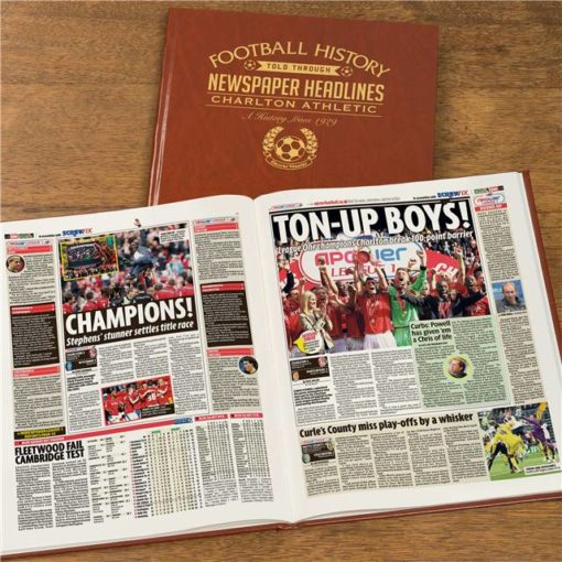 charlton football newspaper book brown leatherette colour pages