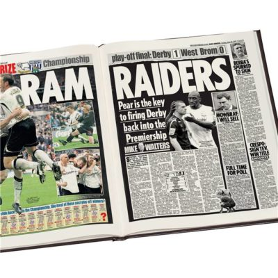 derby county football newspaper book black leather cover