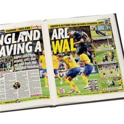england int football newspaper book black leather cover