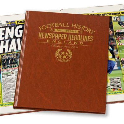 england int football newspaper book brown leatherette colour pages