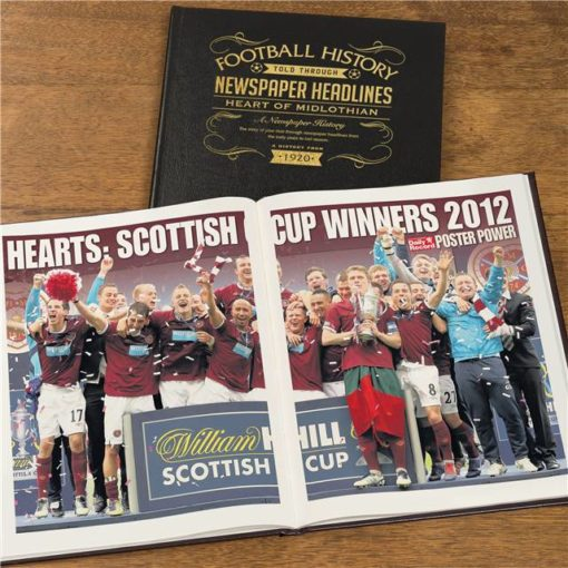hearts football newspaper book black leather cover