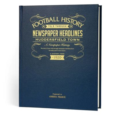 huddersfield football newspaper book blue leather cover