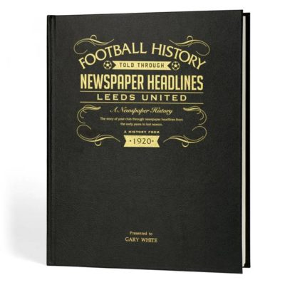 leeds football newspaper book black leather cover