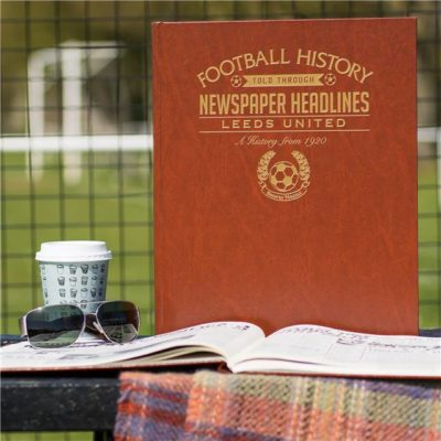 leeds football newspaper book brown leatherette colour pages