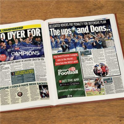 leicester city newspaper book brown leatherette colour pages