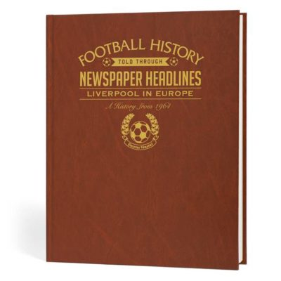 liverpool in europe newspaper book brown leatherette colour pages