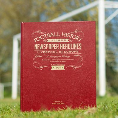 liverpool in europe newspaper book red leather cover