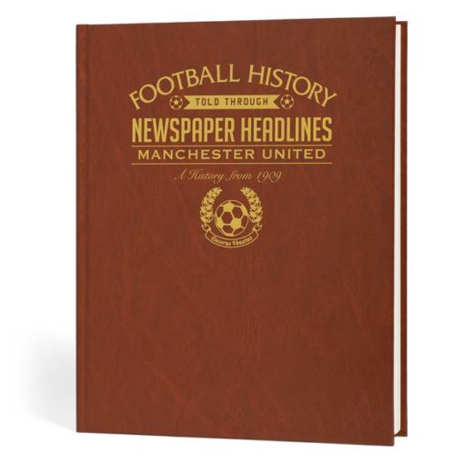 manchester united newspaper book brown leatherette colour pages