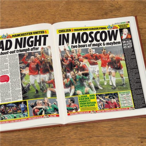 manchester utd europe newspaper book brown leatherette colour pages