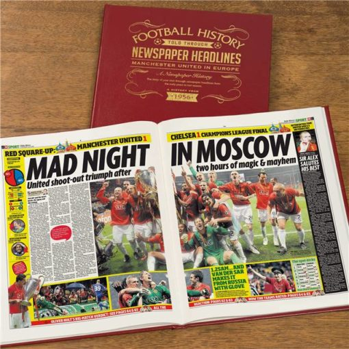 manchester utd europe newspaper book red leather cover