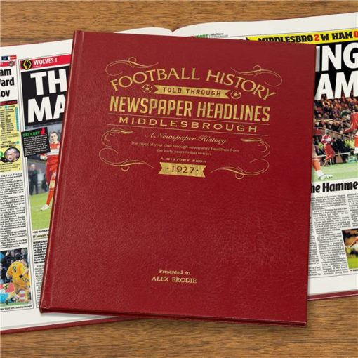 middlesbrough newspaper book red leather cover