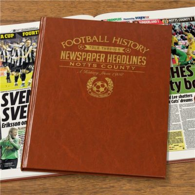 A3 Notts County Newspaper Book - Brown Leatherette