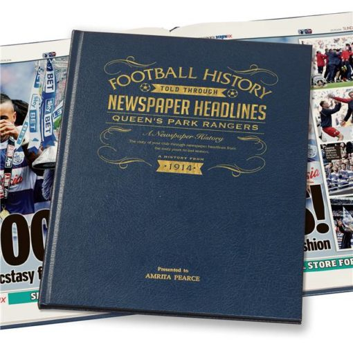 qpr newspaper book blue leather cover