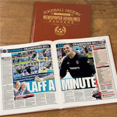 A3 Rangers Newspaper Book - Brown Leatherette