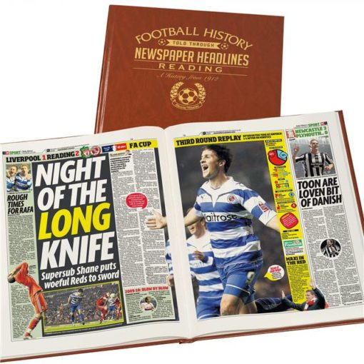 reading newspaper book brown leatherette colour pages