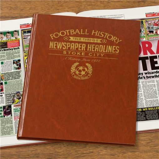 stoke city newspaper book brown leatherette colour pages