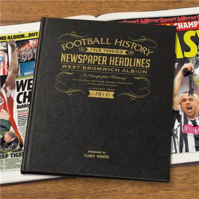 west bromwich albion newspaper book black leather cover