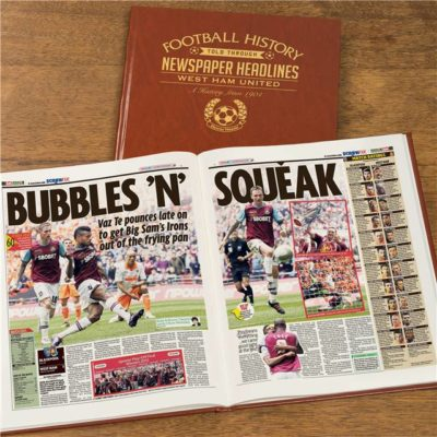 west ham newspaper book brown leatherette colour pages