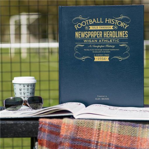 wigan athletic newspaper book blue leather cover