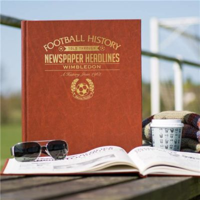 wimbledon newspaper book brown leatherette colour pages