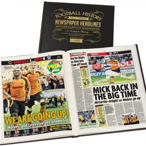 wolves newspaper book black leather cover