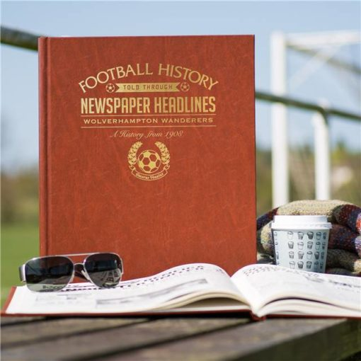 wolves newspaper book brown leatherette colour pages