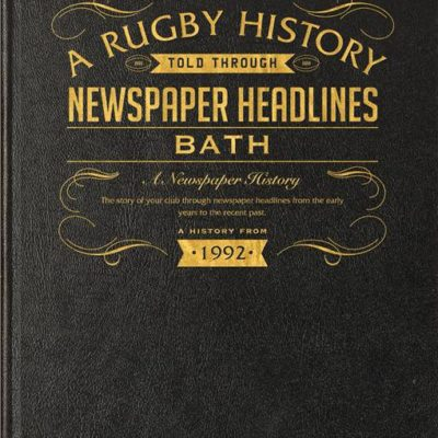 bath rugby newspaper book black leather cover