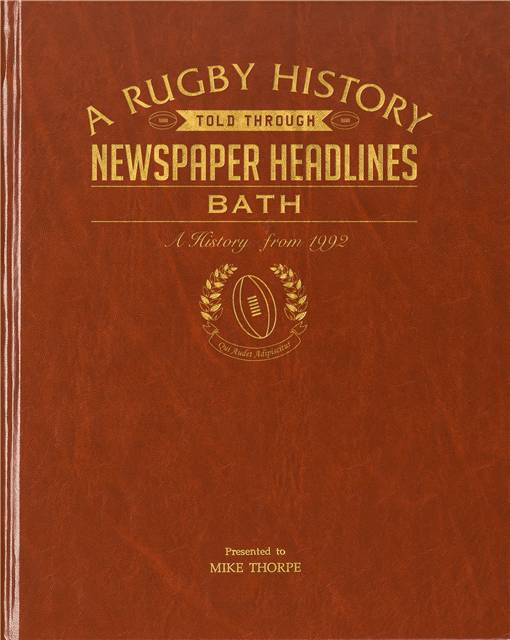bath rugby newspaper book brown leatherette colour pages