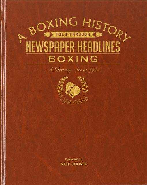 boxing newspaper book brown leatherette colour pages