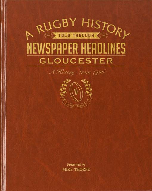 gloucester rugby newspaper book brown leatherette colour pages