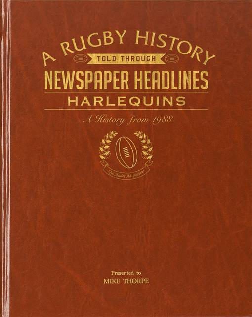 harlequins rugby newspaper book brown leatherette colour pages