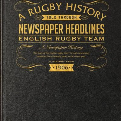 history of english rugby newspaper book black leather cover