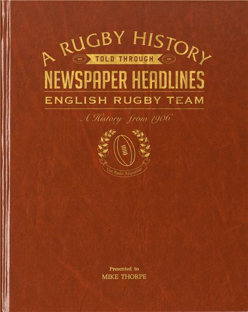 history of english rugby newspaper book brown leatherette colour pages