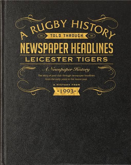 leicester tigers rugby newspaper book black leather cover