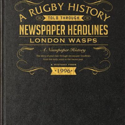 london wasps rugby newspaper book black leather cover