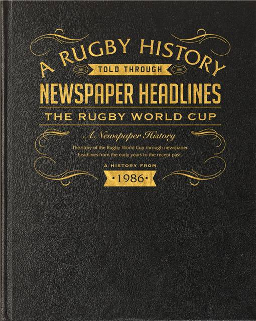 rugby world cup newspaper book black leather cover