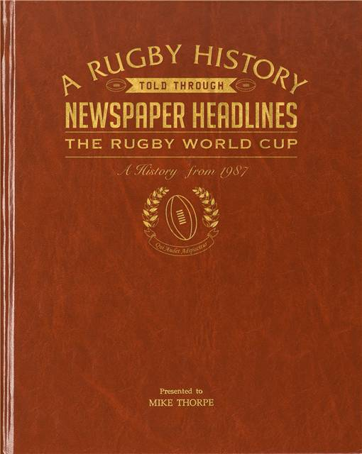 rugby world cup newspaper book brown leatherette colour pages