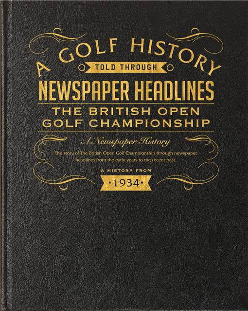 the open golf newspaper book black leather cover