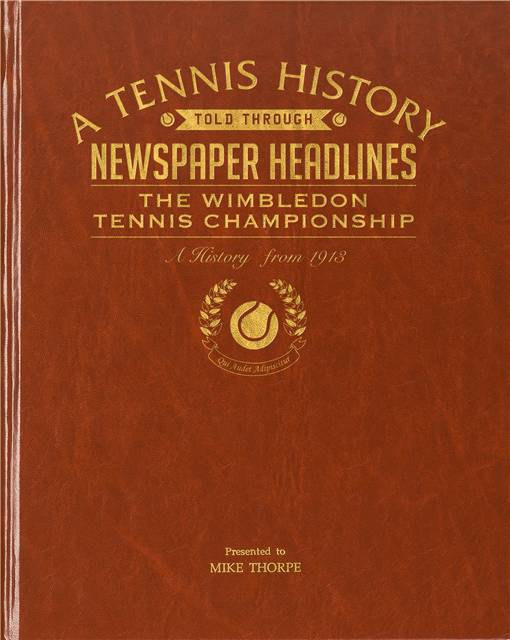 wimbledon tennis newspaper book brown leatherette colour pages