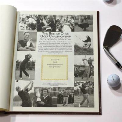 the open golf newspaper book brown leatherette colour pages