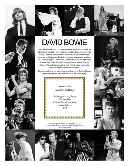Pictorial Historic Book David Bowie message
