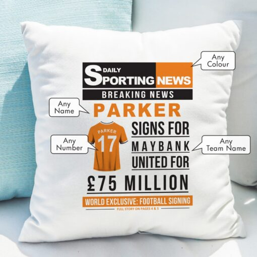 4005028 Football Signing Newspaper Cushion 1 scaled 1