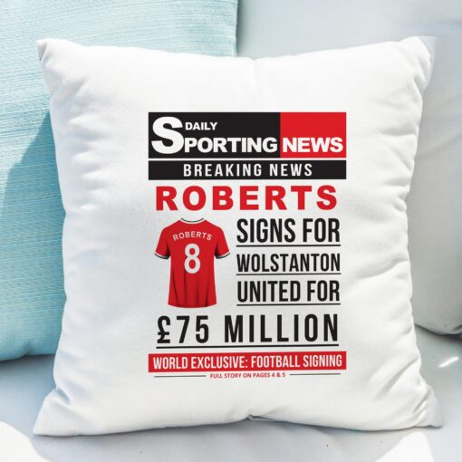 4005028 Football Signing Newspaper Cushion 2 scaled 1