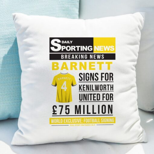 4005028 Football Signing Newspaper Cushion 5 scaled 1